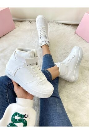 ELSESHOES Kadın Bıleklı Beyaz Spor Ayakkabı 2