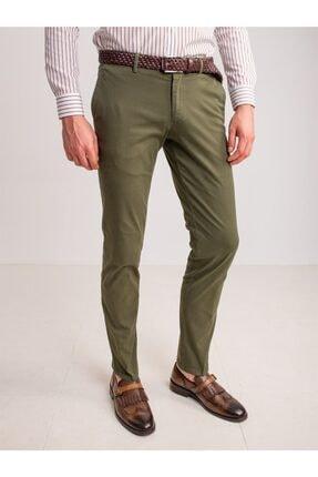 Dufy Haki Pamuk Likra Karışımlı Erkek Pantolon - Classic Fit 0