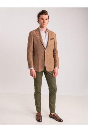 Dufy Haki Pamuk Likra Karışımlı Erkek Pantolon - Classic Fit 1