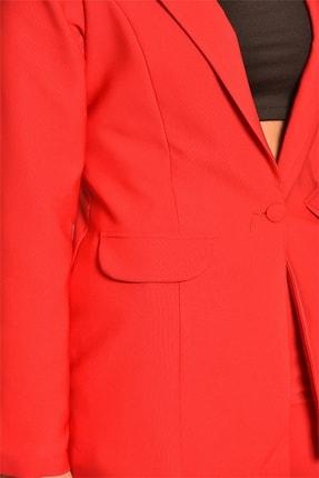 Modakapimda Kadın Kırmızı Ceket Pantolon Takım 4