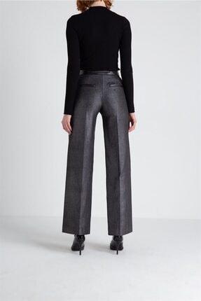 FRACOMINA Parlak Görünümlü, Yüksek Bel Siyah Pantolon 3
