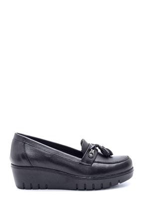 Derimod Kadın Deri Püskül Detaylı Dolgu Topuk Ayakkabı 0