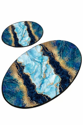 EVİMOD Mavi Gold Turkuaz Mermer Modern Yıkanabilir 2li Banyo Halısı Paspas 25002x 1