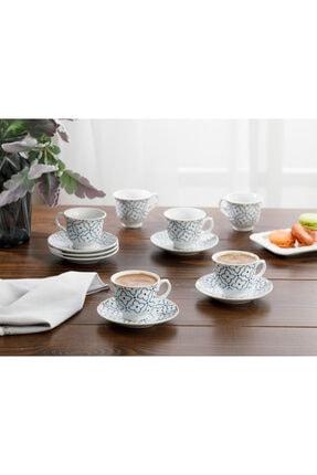 English Home Belize Porselen 6'lı Kahve Fincan Takımı 90 ml Mavi - Kırık Beyaz 0