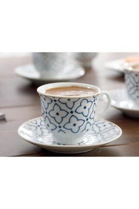 English Home Belize Porselen 6'lı Kahve Fincan Takımı 90 ml Mavi - Kırık Beyaz 1