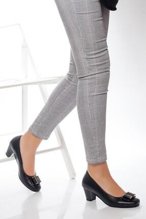 Deripabuc - Anatomik Hakiki Deri Siyah Kadın Topuklu Deri Ayakkabı Shn-0172 1