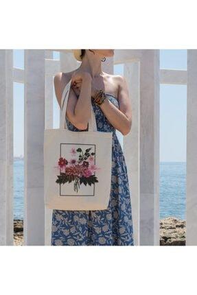 تصویر از Çiçek Demeti Alışveriş Plaj Bez Çanta