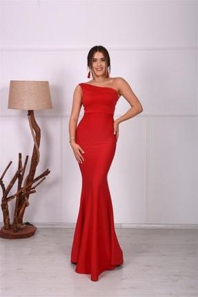 giyimmasalı Tek Kol Balık Abiye Elbise - Kırmızı 2