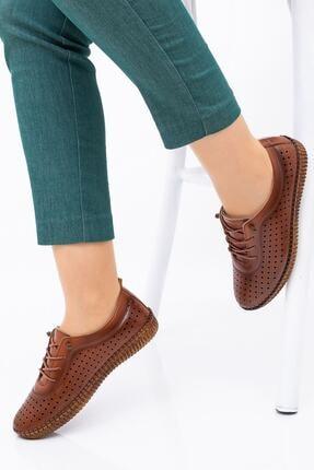 Hoba Kadın Kahverengi Delikli Bağcıklı Hakiki Deri Ayakkabı 1