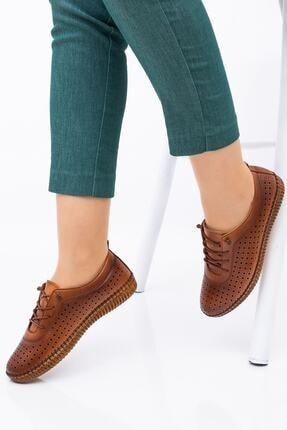 Hoba Kadın Kahverengi Delikli Bağcıklı Hakiki Deri Ayakkabı 4