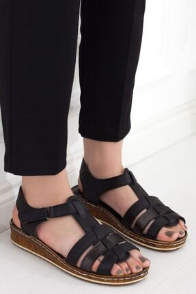 Siyah Çapraz Kesim Hakiki Deri Cırtlı Günlük Kadın Sandalet • A202ytar0011 A202YTAR0011