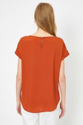 Koton Kadın Tarçın Rengi Kisa Kollu Cep Detayli Bluz 3