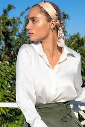 Silk and Cashmere Ipek Audrey Geniş Manşet Uzun Kollu Gömlek 0