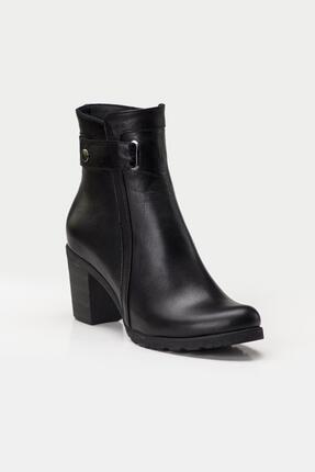 Deripabuc Hakiki Deri Siyah Kadın Topuklu Deri Bot Trc-3763 2