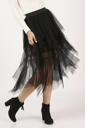 Tena Moda Kadın Siyah Parçalı Tül Etek 0