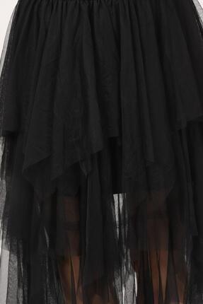 Tena Moda Kadın Siyah Parçalı Tül Etek 2