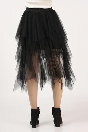 Tena Moda Kadın Siyah Parçalı Tül Etek 3