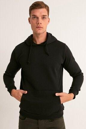 Fullamoda Erkek Siyah Kapüşonlu Sweatshirt 0