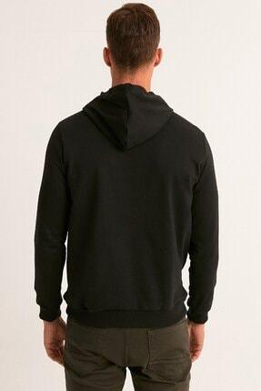 Fullamoda Erkek Siyah Kapüşonlu Sweatshirt 3