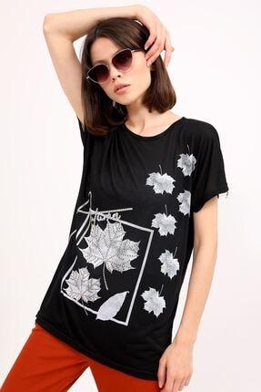 metropol tekstil Krt-044 Desenli Tshirt Siyah 3