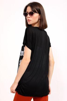 metropol tekstil Krt-044 Desenli Tshirt Siyah 4