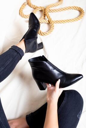 Deripabuc Hakiki Deri Siyah Kadın Topuklu Deri Bot Dp02-1924 3
