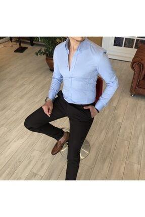 TerziAdemAltun Italyan Stil Slim Fit Dik Yaka Saten Erkek Gömlek Mavi T4750 1