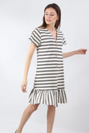 ALEXANDERGARDI Önü Düğmeli, Şeritli Elbise, Beyaz (B20-147607) 1