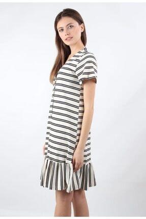 ALEXANDERGARDI Önü Düğmeli, Şeritli Elbise, Beyaz (B20-147607) 2