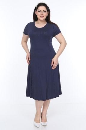 SENTEX Kısa Kollu Puantiyeli Kuplu Belden Oturmalı Bayan Elbisesi 0