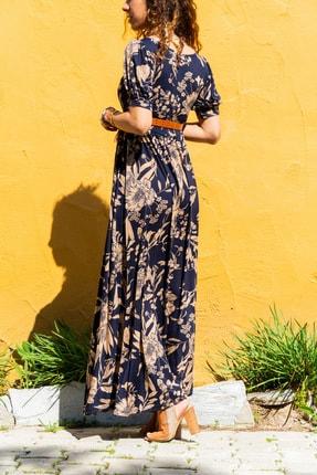 Güneşkızı Kadın Lacivert Öpücük Yaka Karpuz Kol Kiloş Uzun Elbise Gk-td403 1