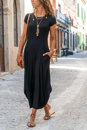 Güneşkızı Kadın Siyah Yanı Cepli Asimetrik Salaş Elbise Gk-td412 0