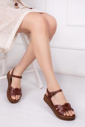 Deripabuc Hakiki Deri Kahverengi Kadın Deri Sandalet Dp-1014 0