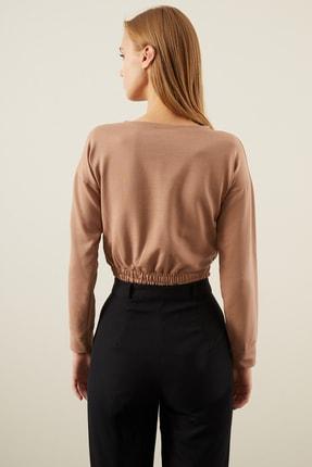 Tena Moda Kadın Bisküvi Beli Lastikli Crop Sweatshirt 3
