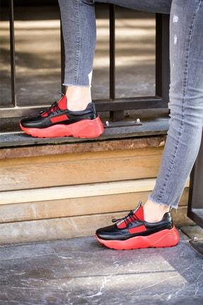 Abbondare Hakiki Deri Siyah-kırmızı Kadın Spor Ayakkabı-sneaker 4