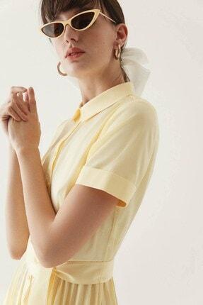 Rue Sarı Kuşaklı Midi Gömlek Elbise 2