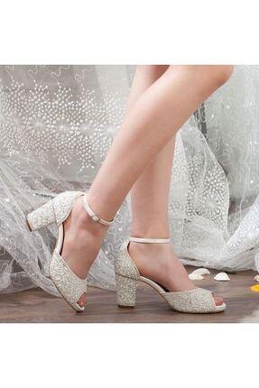 Adım Adım Sedef Platform Topuk Bilekten Bağlama Abiye Gelin Kadın Ayakkabı • A192ysml0013 1