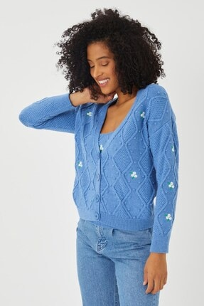 Mio Secret Kadın Nakışlı Hırka Ve Crop Bluz Triko Takım Htkm-2001 1