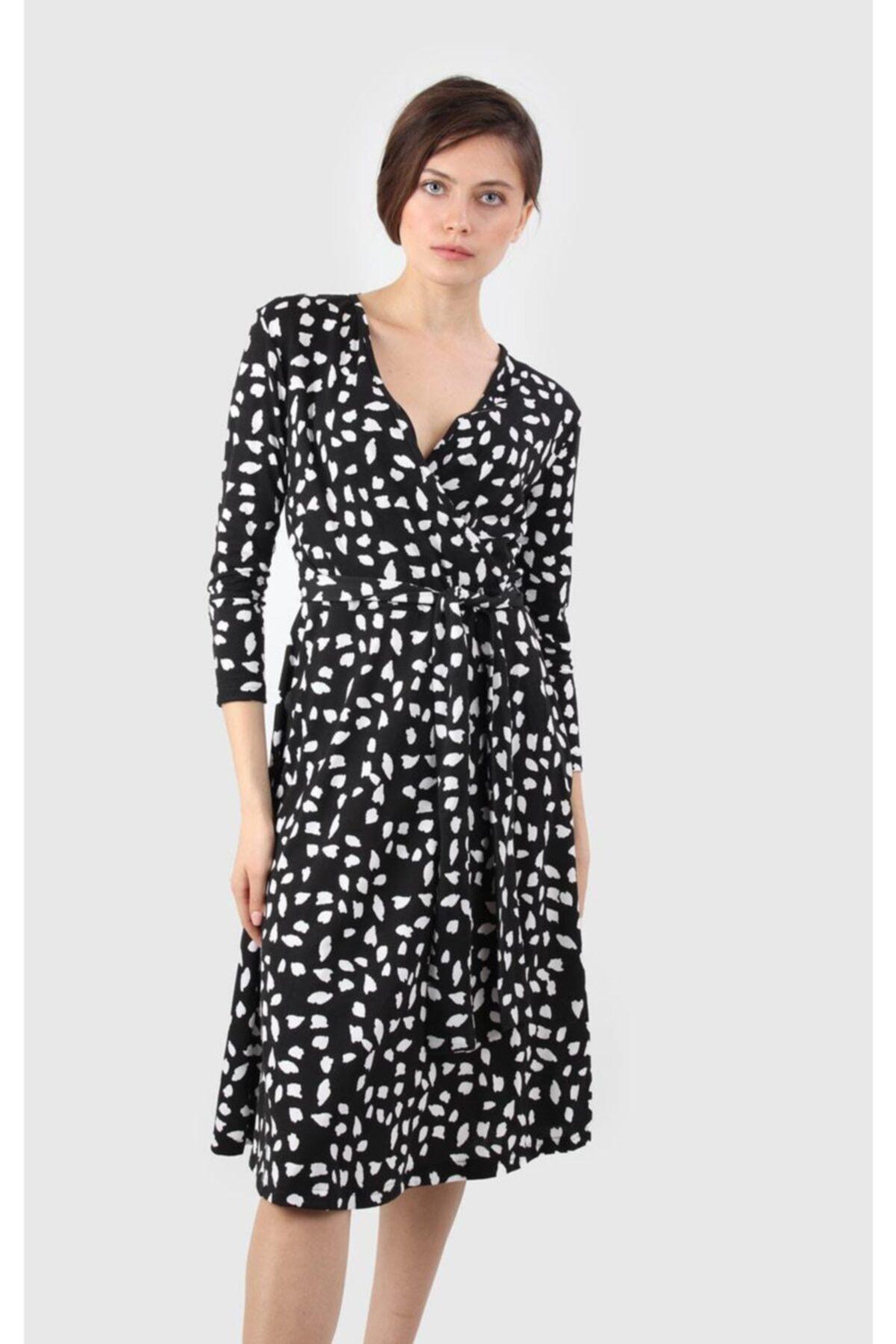 Kruvaze Yaka Elbise, Siyah-beyaz (B19-38712)
