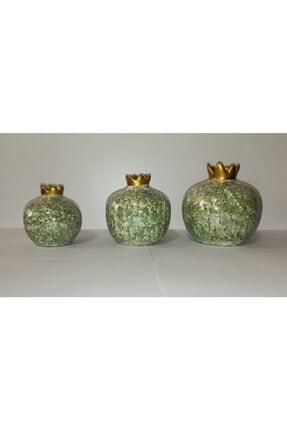 YEDİTEPE ÇİNİ Seramik Metalik Yaldızlı Ebruli 3 Lü Nar Seti-yeşil-el Işi-dekoratif-hediyelik 1