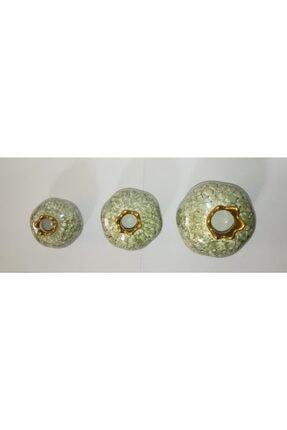 YEDİTEPE ÇİNİ Seramik Metalik Yaldızlı Ebruli 3 Lü Nar Seti-yeşil-el Işi-dekoratif-hediyelik 2