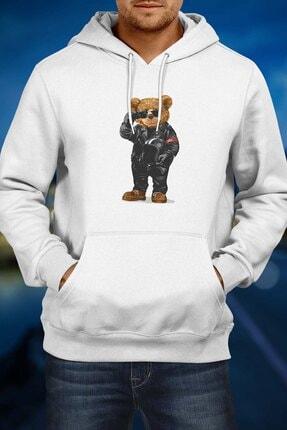 Burlu Motoksikletli Cool Ayı Hoodie Kapişonlu Sweatshirt 1