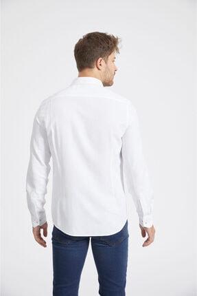 Avva Erkek Beyaz Armürlü Düğmeli Yaka Slim Fit Gömlek A02y2024 2