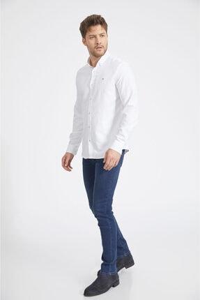 Avva Erkek Beyaz Armürlü Düğmeli Yaka Slim Fit Gömlek A02y2024 3