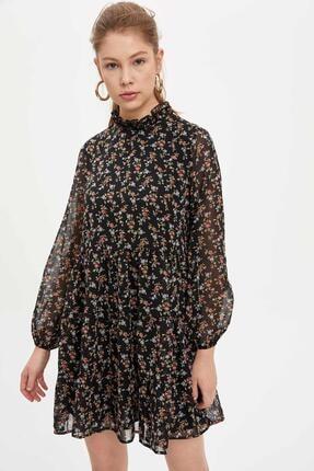 Defacto Etek Ucu Volanlı Oversize Fit Elbise 1