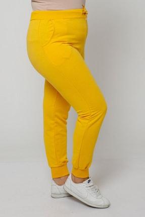 Ebsumu Kadın Büyük Beden Bilek Lastikli Sarı Eşofman Altı 0