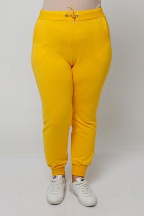 Ebsumu Kadın Büyük Beden Bilek Lastikli Sarı Eşofman Altı 1