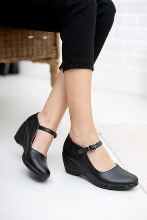 epaavm Dolgu Taban Siyah Cilt Ayakkabı 0