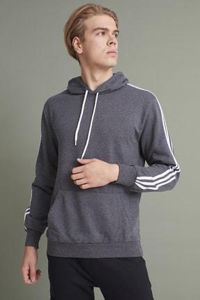 Tena Moda Erkek Antrasit Kapşonlu Kanguru Cepli Kolları Üç Şeritli Sweatshirt 0