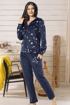 MONAMİSE 19270 Kadın Polar Pijama Takımı Lacivert 1